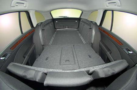 car trunk: passenger car trunk with rear seats folded