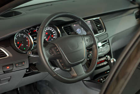 airbag: steering wheel in a modern passenger car Stock Photo
