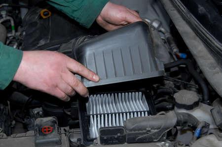 air cleaner: sustituci�n de filtro de aire Foto de archivo