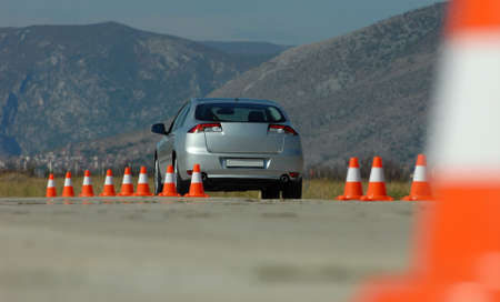 car on the test tracks with cones