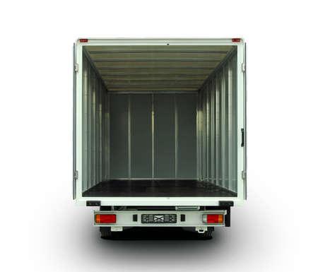 delivery truck: Empty van with rear doors opened Stock Photo