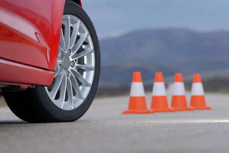 motor racing: sport wheel and cones