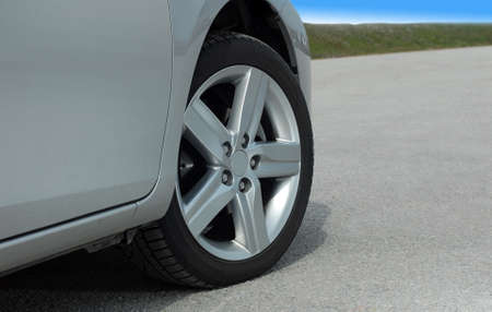 high performance: tire and alloy wheel on this high performance sports car