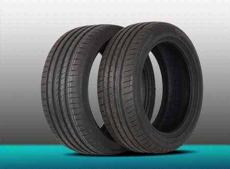 vulcanization: brand new two modern summer sports tire Stock Photo