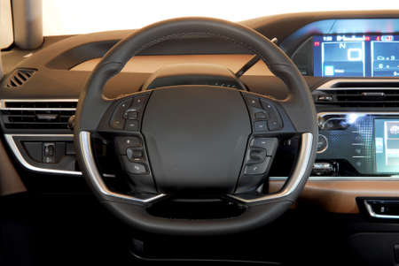 airbag: steering wheel in the new modern car Stock Photo
