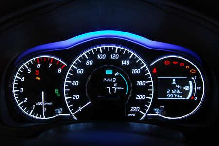 car illuminated dashboard Archivio Fotografico