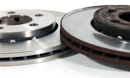 New and Old Disk Brake Rotors Stock Photo
