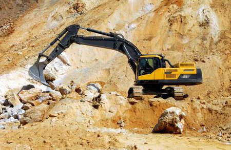 power shovel: Yellow excavator, dredge Stock Photo