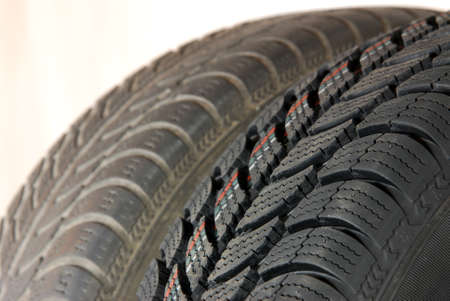 vulcanization: Fragment a new and old modern winter car tires