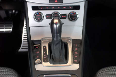 gear handle: Automatic gear shift handle and car interior details