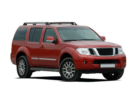tinted: red large SUV on a white background
