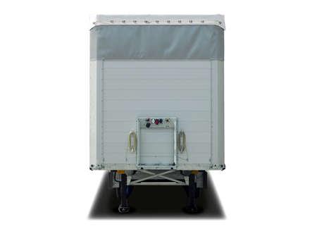 semitrailer: white parked semi trailer Stock Photo