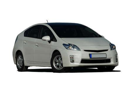 white hybrid car photo