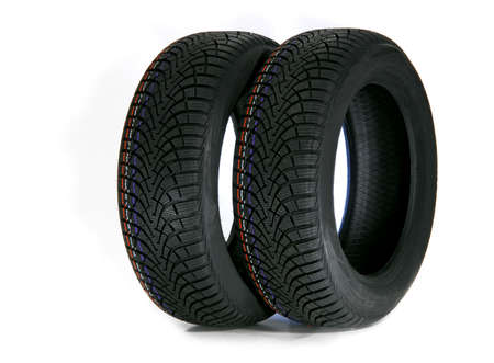 winter tires: two winter tires Stock Photo
