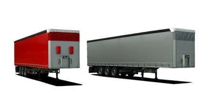 semi trailer: Red and gray truck semi trailer on a white background Stock Photo