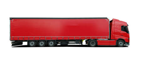 heavy duty: red large truck with semi trailer