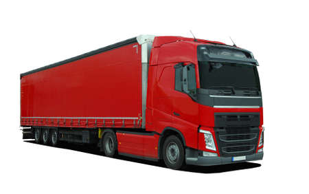semi trailer: red large truck with semi trailer