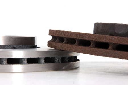 truck repair: New and old disk brake rotors