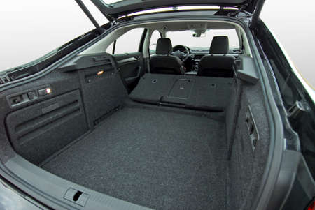 empty car trunk with folded seats