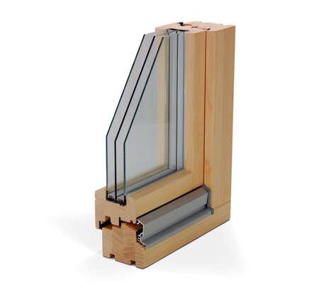 in profile: wooden window profile Stock Photo