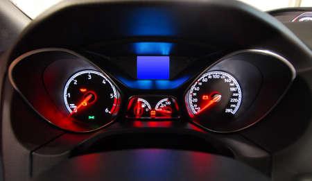 car illuminated dashboard Stock Photo