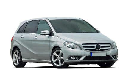 minivan, mpv, grijze auto geïsoleerd Stockfoto
