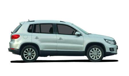 silver background: mini SUV Stock Photo