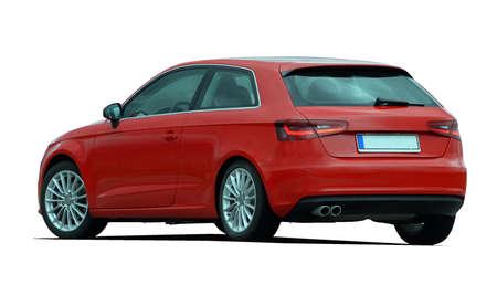 shiny car: red hatchback Stock Photo