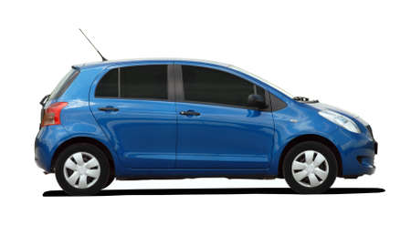 small blue car 스톡 콘텐츠