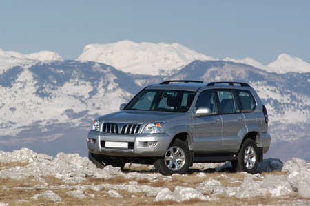 suv on the mountain