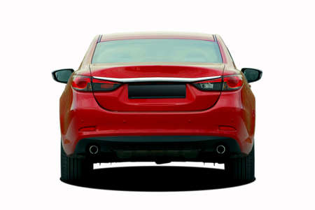red sedan rear view Stock Photo