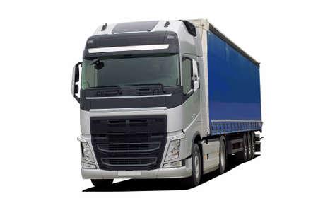 コンテナセミ トレーラーと大型トラック 写真素材