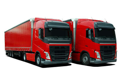 two truck with semi trailers