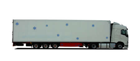 truck with semitrailer refrigerator Stock Photo
