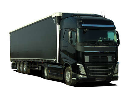 Large truck with semi trailer Stock Photo
