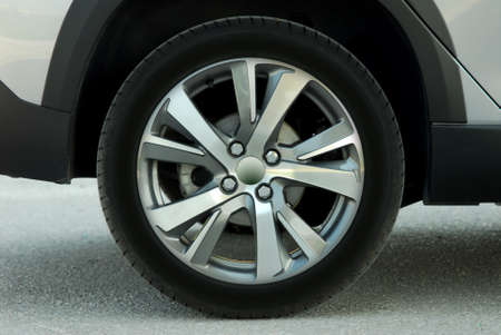 tires and aluminum wheel on a passenger car Stock Photo
