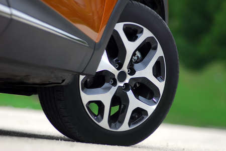 tire and aluminum alloy wheels on a passenger car