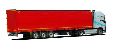 large truck with semi trailer side view