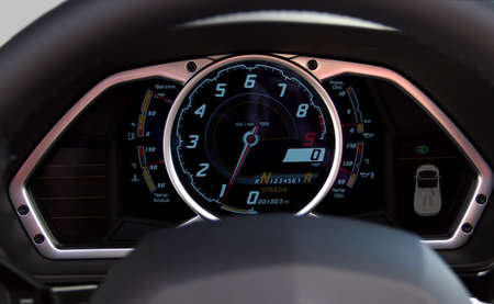 ultra sports car illuminated dashboard