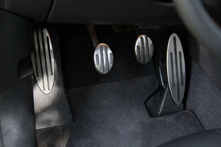 Car pedals. Gas, clutch and brake