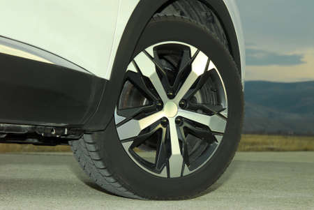 tire and alloy wheel on this SUV Stock Photo