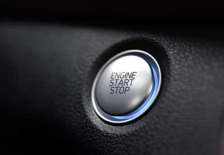 Start stop engine button on a modern car dashboard
