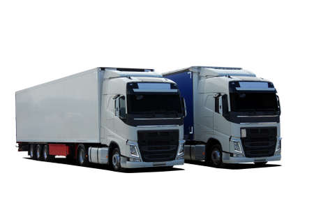 two large trucks Stock Photo