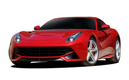 auto sportiva rossa su sfondo bianco