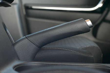 Manual brake in interior of modern car