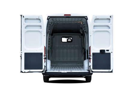 Empty white van with rear doors opened
