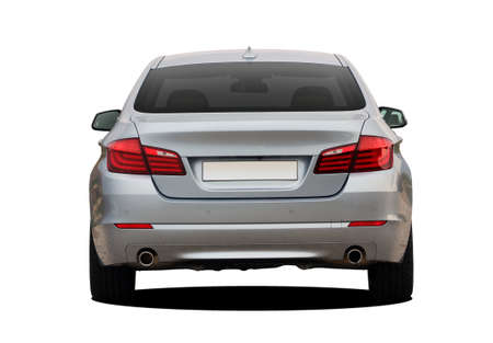 the back of a modern car on a white background