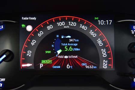 Modern car illuminated dashboard in a hybrid car