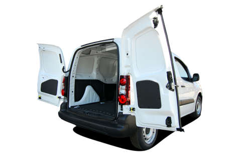 small van with rear doors opened