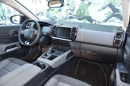 Dashboard of a modern SUV. Interior of a modern SUV.
